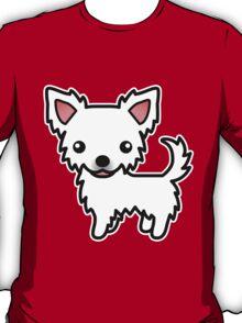 White Long Coat Chihuahua Cartoon Dog T-Shirt