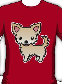 Fawn Long Coat Chihuahua Cartoon Dog T-Shirt
