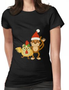 Funny cartoon monkey with cute cock. Womens Fitted T-Shirt