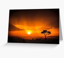 Safari Sunset - Masai Mara, Kenya Greeting Card