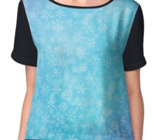 Christmas blue background with snowflakes Chiffon Top