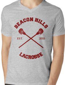 Beacon Hills Lacrosse CRossLogo - Maroon Mens V-Neck T-Shirt