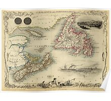 Map of Newfoundland 1851 Poster