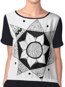 Flower Drawing - White Background Chiffon Top