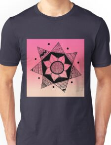 Flower Drawing - Pink Ombre Background Unisex T-Shirt