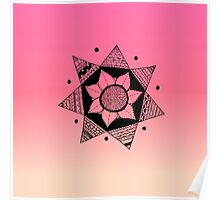 Flower Drawing - Pink Ombre Background (Smaller) Poster