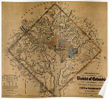 Map of Washington 1862 Poster