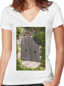 old window Women's Fitted V-Neck T-Shirt