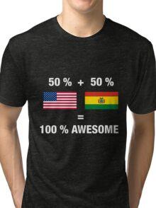 Bolivian American Half Bolivia Half America Flag Tri-blend T-Shirt