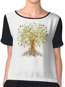 Colorful Modernist Tree 13 Chiffon Top