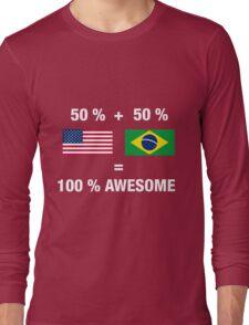 Half Brazilian Half American 100% Awesome Flag Brazil Long Sleeve T-Shirt