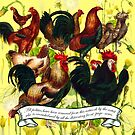 Gazing at Victorian Chickens 4 by Donna Catanzaro