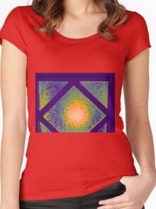 GLOWING LIGHT BEHIND PURPLE GLASS Women's Fitted Scoop T-Shirt