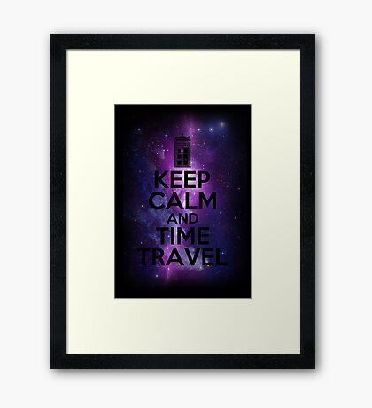 Keep calm and time travel Framed Print