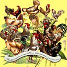 Gazing at Victorian Chickens 2 by Donna Catanzaro