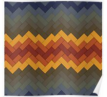 Rainbow Brickwork Chevron Poster