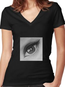 Eye Reflection Women's Fitted V-Neck T-Shirt
