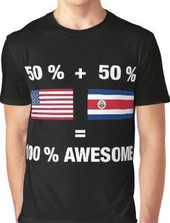 Costa Rican American Half Costa Rica Half America Flag Graphic T-Shirt