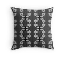 Black and White Blossom Circles Throw Pillow