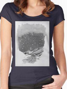 night scene snow Women's Fitted Scoop T-Shirt