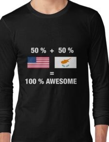 Half Cypriot Half American 100% Awesome Flag Cyprus Long Sleeve T-Shirt