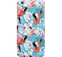 floral pattern with hummingbird  iPhone Case/Skin