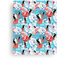 floral pattern with hummingbird  Canvas Print