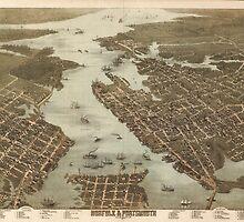 Vintage Map of Norfolk and Portsmouth VA (1873) by BravuraMedia