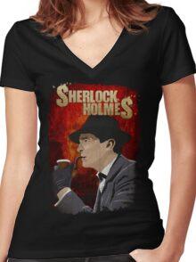 Sherlock Holmes Jeremy Brett T-Shirt Women's Fitted V-Neck T-Shirt