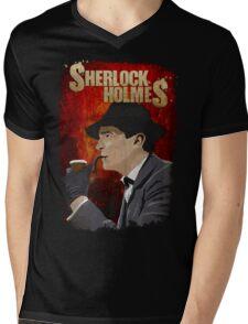 Sherlock Holmes Jeremy Brett T-Shirt Mens V-Neck T-Shirt