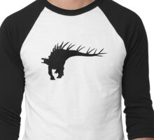 Kentrosaurus Dinosaur Silhouette (Black) Men's Baseball ¾ T-Shirt