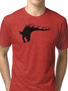 Kentrosaurus Dinosaur Silhouette (Black) Tri-blend T-Shirt