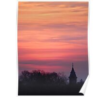 Tower and Trees at Sunset Poster