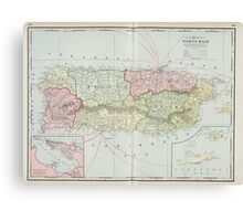 Vintage Map of Puerto Rico (1901) Canvas Print