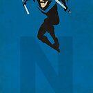 Nightwing - Superhero Minimalist Alphabet Print Art by justicedefender