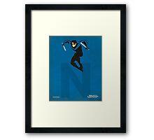 Nightwing - Superhero Minimalist Alphabet Print Art Framed Print