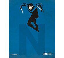 Nightwing - Superhero Minimalist Alphabet Print Art Photographic Print