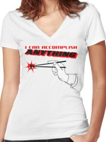 I Can Accomplish Anything - Black & Red Women's Fitted V-Neck T-Shirt