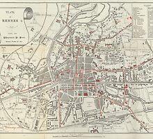 Vintage Map of Rennes France (1905)  by BravuraMedia