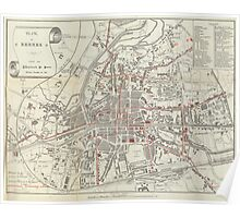 Vintage Map of Rennes France (1905)  Poster