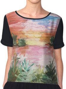 Oil Pastel Painting Chiffon Top