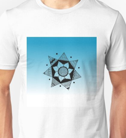 Flower Drawing - Blue Ombre Background (Smaller) Unisex T-Shirt