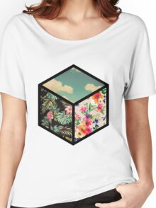 Floral Vintage Cube Women's Relaxed Fit T-Shirt