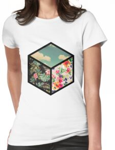 Floral Vintage Cube Womens Fitted T-Shirt
