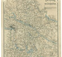 Vintage Map of The Richmond Virginia Area (1864) by BravuraMedia