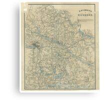 Vintage Map of The Richmond Virginia Area (1864) Canvas Print