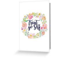 Navy Treat Yo Self Floral Wreath Greeting Card