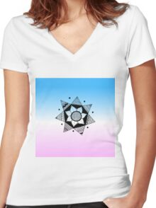 Flower Drawing - Pink and Blue Ombre Background (Smaller) Women's Fitted V-Neck T-Shirt