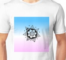 Flower Drawing - Pink and Blue Ombre Background (Smaller) Unisex T-Shirt