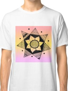 Flower Drawing - Peach Ombre Background (Larger) Classic T-Shirt